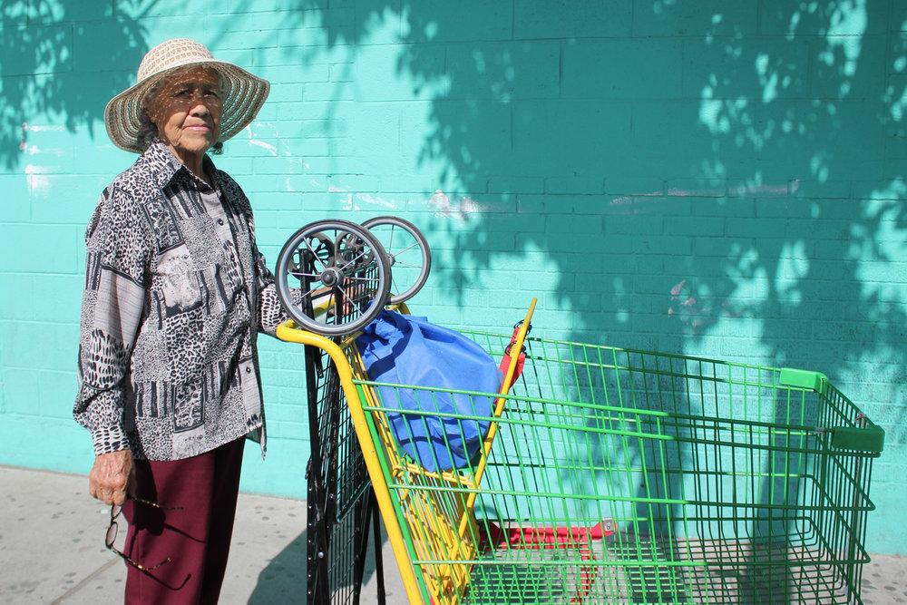 A customer at Mata's Fruit Store downtown.