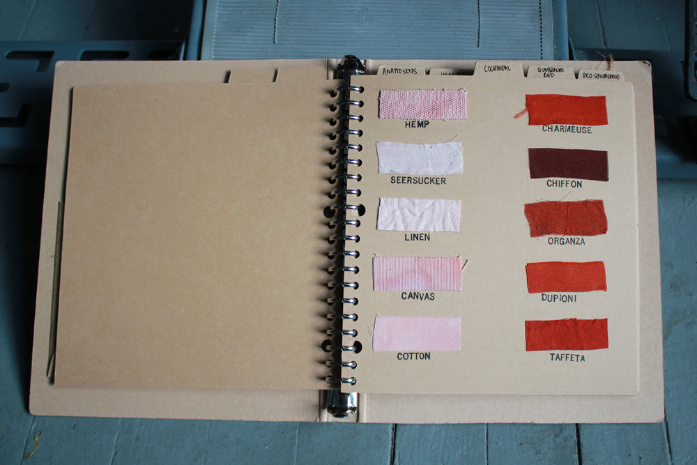 Mari's color book, where she documents the results of dyeing with various fabrics, temperatures, and lengths of time.