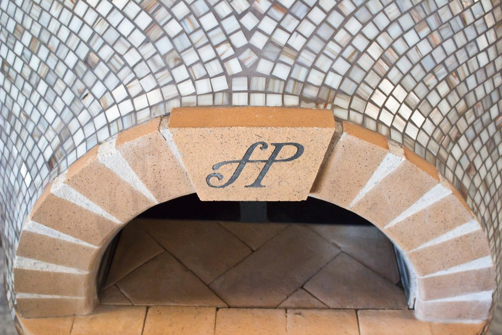 Brick archway on pizza oven
