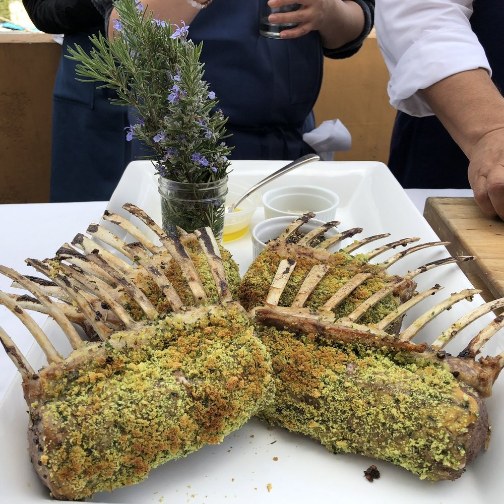 Rosemary Roasted Rack of Lamb, Hot Garlic Eggplant -