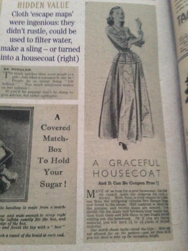 Advert in a 1940s magazine with a patten for a housecoat made from escape and evade maps. Photo courtesy of Vic Garland.