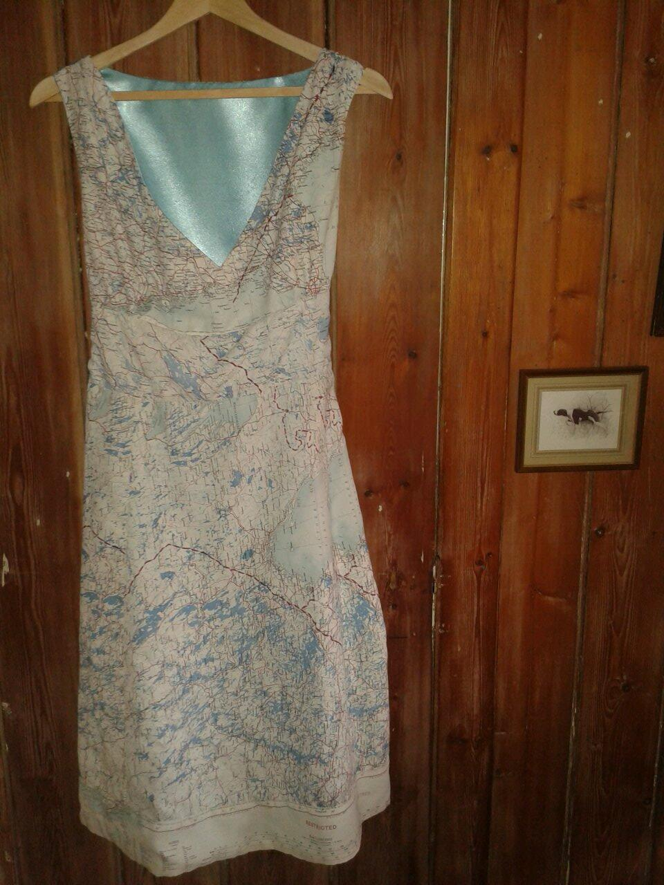 Dress made from escape and evasion maps by Home Front Vintage.jpg