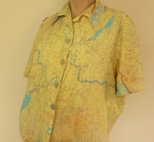 Blouse made from maps dated 1944.