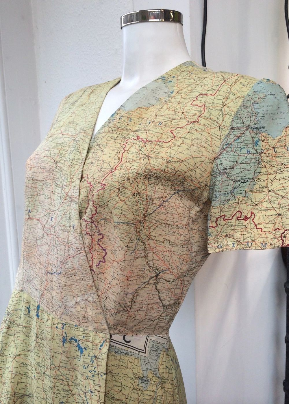 1940s silk map dress