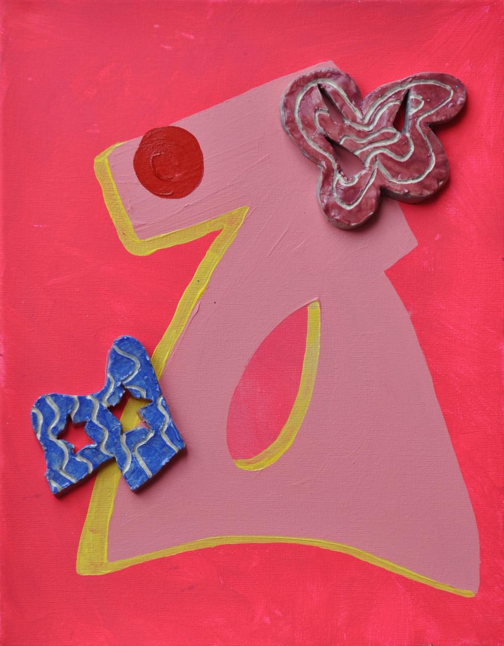 "Acrylic and ceramic on canvas | 11x14"" | 2016"