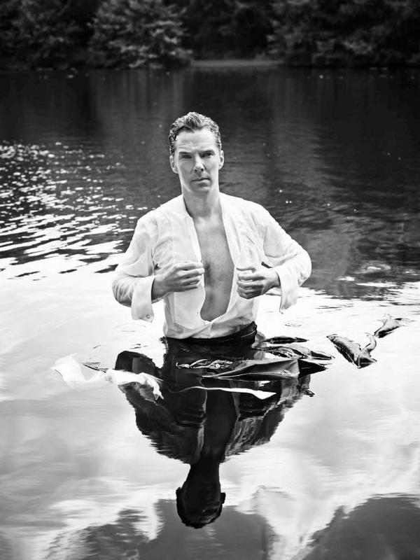 Benedict Cumberbatch    and his very wet shirt (Pic: Jason Bell/Dundas Communications) via Anglophenia