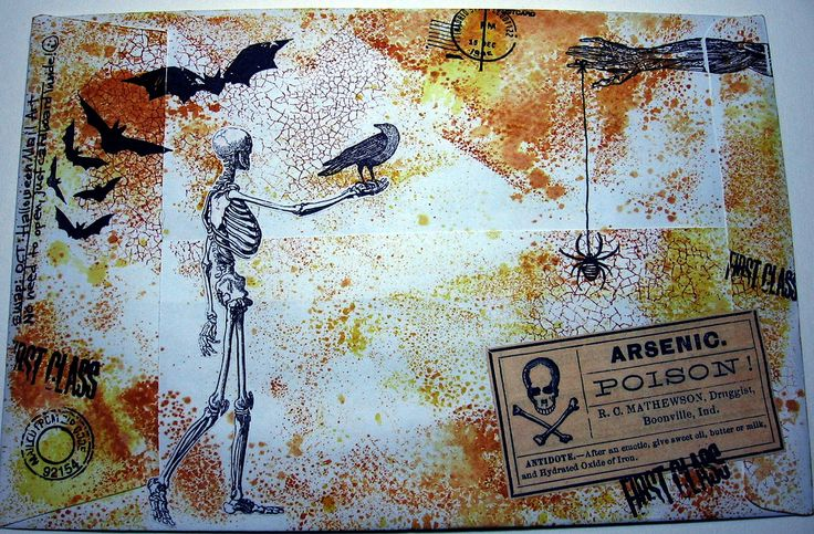 Halloween Mail Art 1, back of envelope by bluemama