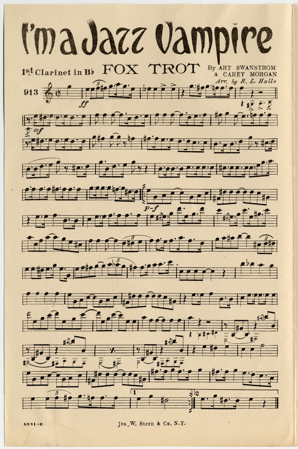 Clarinet Sheet Music for I'm a Jazz Vampire (by  by Carey Morgan; Arthur Swanstrom; Aileen Stanley)  via  The Library of Congress