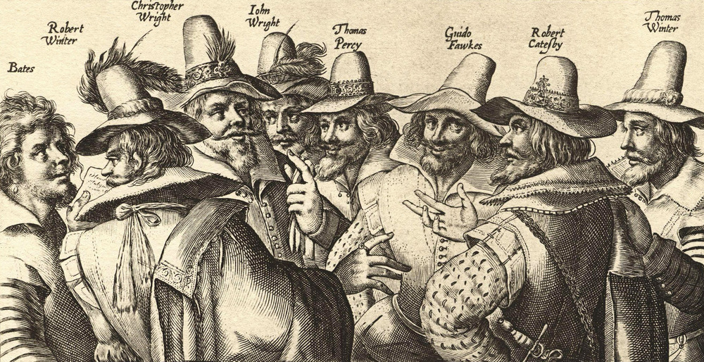 Illustration of the Gunpowder Plot members, include Catesby and Fawkes.