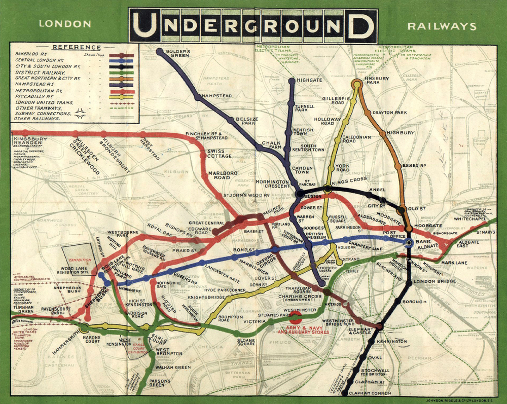 Map of the London Underground circa 1908. The Central Line is in blue - follow it to find The British Museum Station.