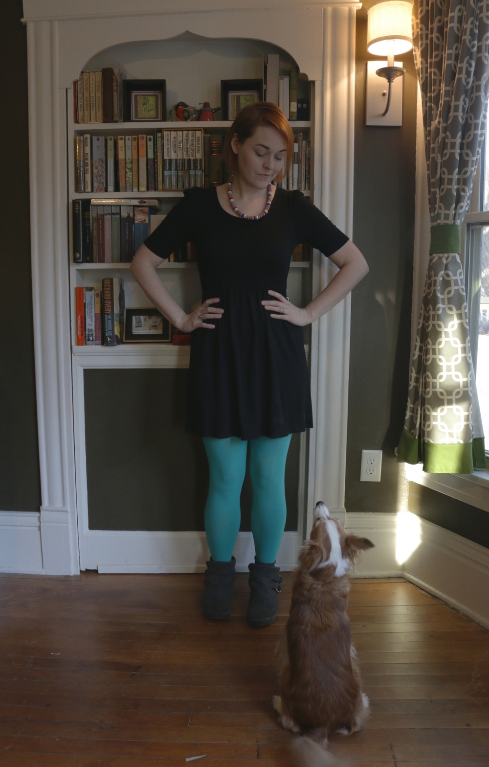 """Yes, Buster, it is the first day of Dressember."" My first look for Dressember 2014: Little Black Dress, Robin Egg-colored Tights, Crayon Necklace (yes! a necklace made of crayons to look like a candy necklace), and my comfy slip on boots."
