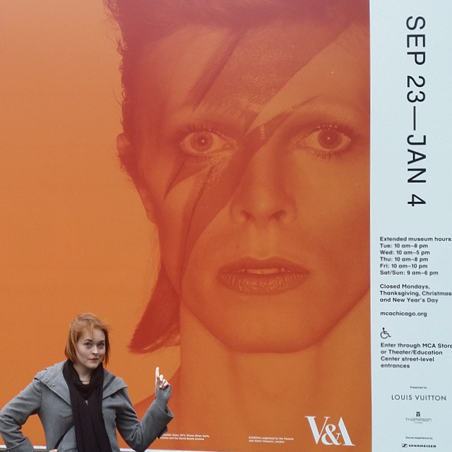 No photography allowed in the exhibition, but plenty of Bowie graphics to pose with outside of the main stage.