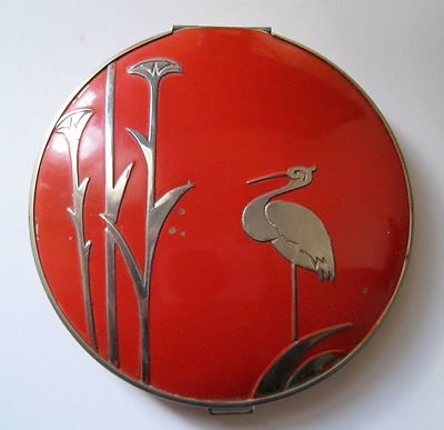 1934 Stratton Art Deco Non-Spill Heron / Stork Red Compact 1930s