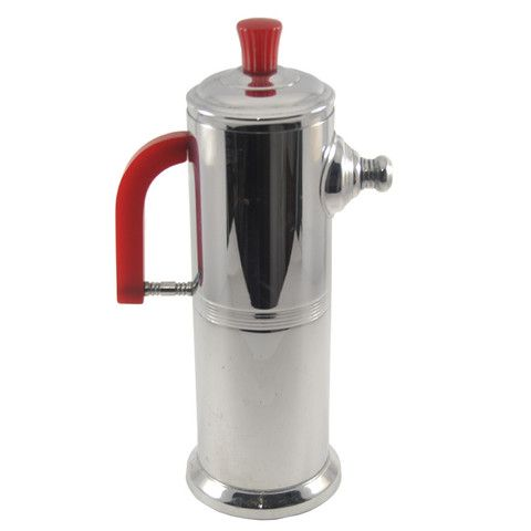 Keystone Chrome & Red Bakelite Cocktail Shaker