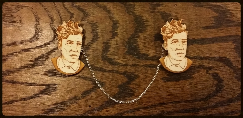My David Lynch Collar Clips / Sweater Guards, custom-made by Kate Rowland. She frequently offers  David Lynch brooches in her shop .
