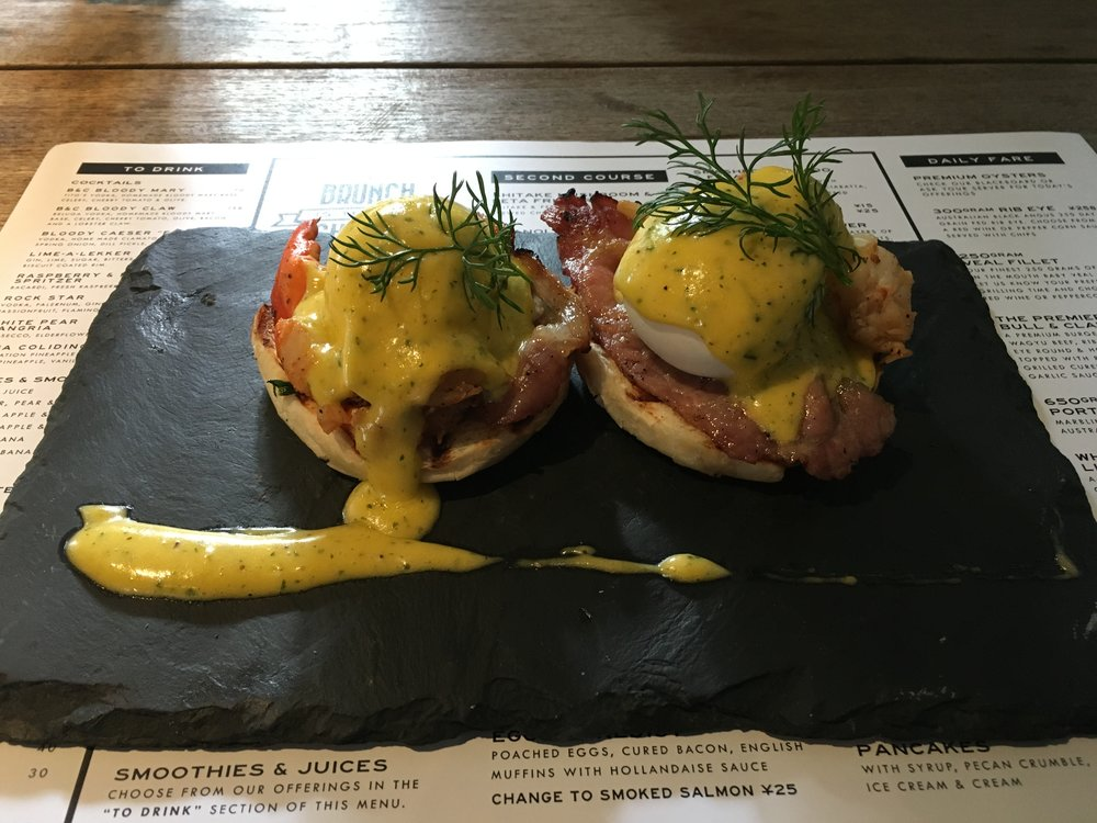 Lobster Eggs Benny from The Bull & Claw