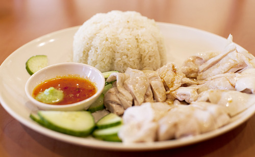 Hainanese Chicken Rice + Soup  Regular $9.95
