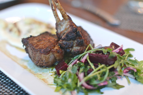 $28 Roasted Rack of Lamb     candy cane beets ▪ cauliflower puree ▪ chimichurri ▪ arugula    salad