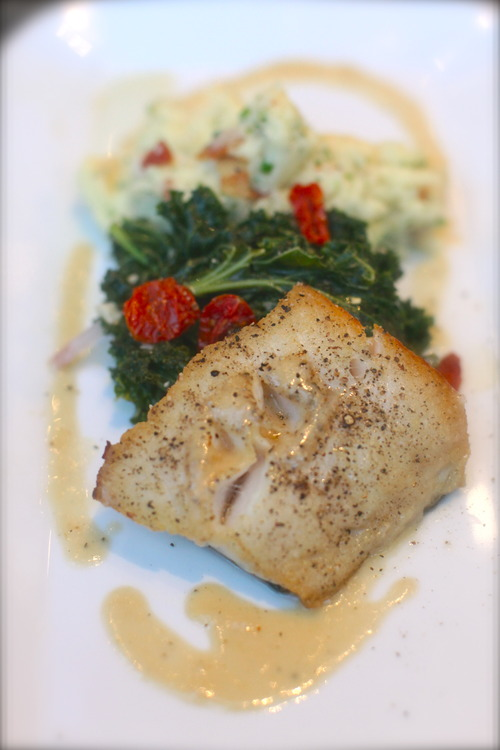 $30 Pan Roasted Sablefish    bourbon bacon chive mash potato ▪ braised kale   lemon fennel vinaigrette