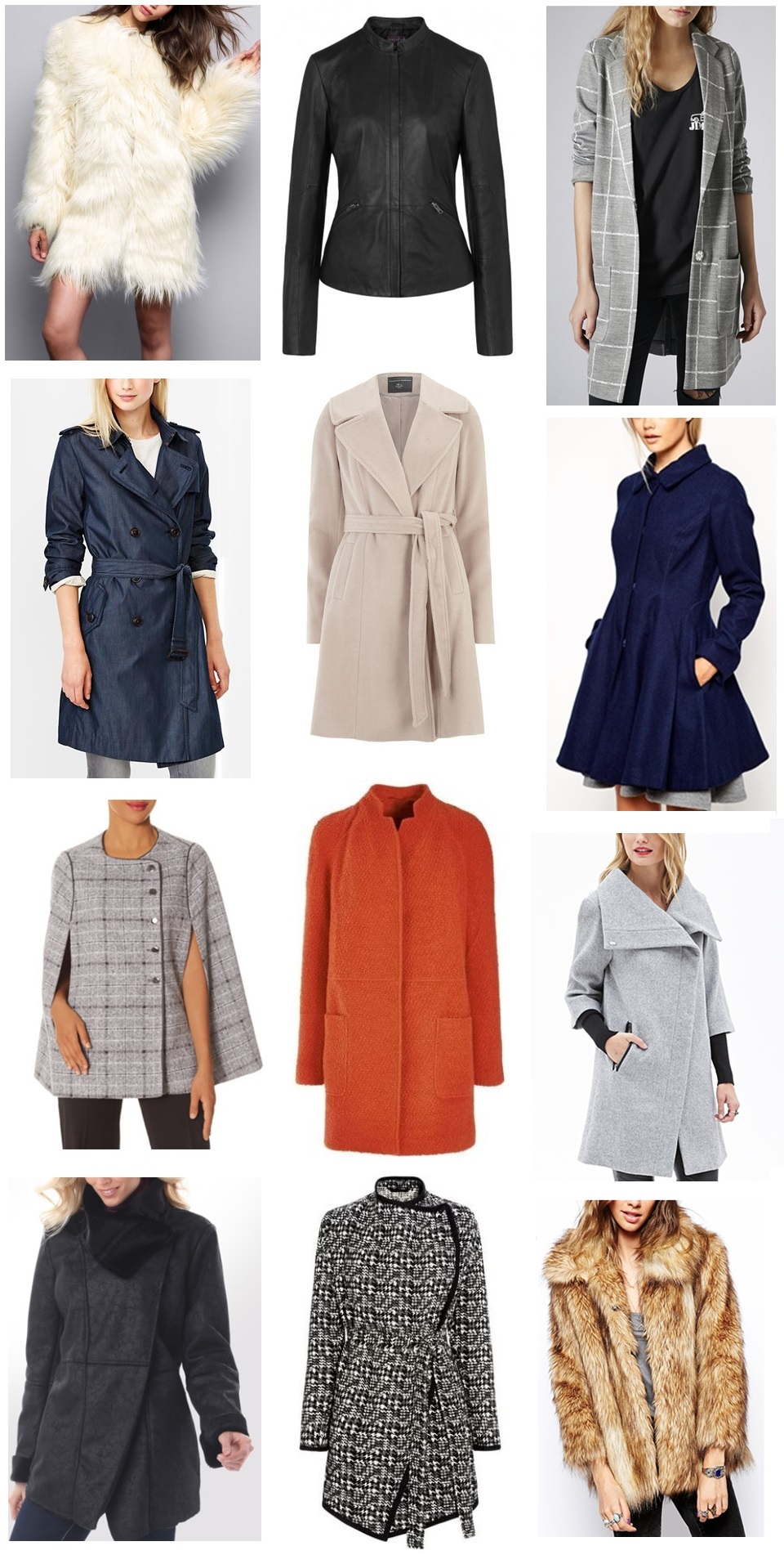 TALL OUTERWEAR SOIREE (top to bottom, left to right): YETI COAT - TTYA for Long Tall Sally/SOFT LEATHER JACKET - Long Tall Sally/TALL GRID CHECK JACKET - TopShop/CLASSIC INDIGO TRENCH - Gap/TALL BLUSH FIT AND FLARE COAT - Dorothy Perkins/TALL DOLLY SKATER COAT - ASOS/SCANDAL COLLECTION PLAID CAPE - The Limited/ORANGE BOUCLE COAT - Next/HEATHER DOUBLE-SLEEVE COCOON COAT - Forever 21/Madison Coat - LEL/CHECKED BLANKET COAT - Next/TALL VINTAGE FAUX FUR COAT - ASOS/