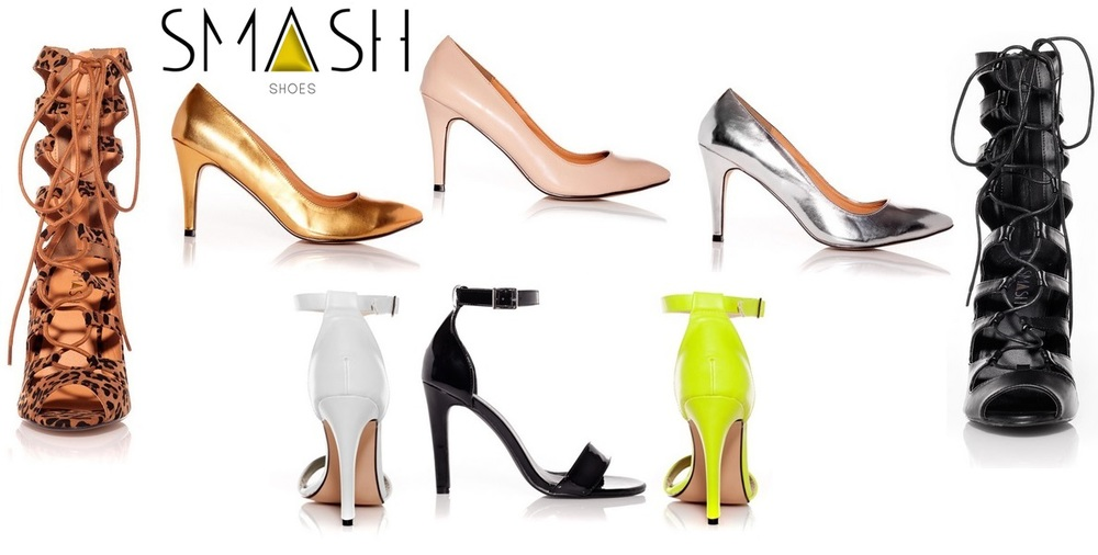 SMASH SHOES (left to right, top to bottom): ROLLIE in Leopard/AMBER in gold/AMBER in nude/AMBER in silver/ROLLIE in black/PLEI in white/PLEI in black patent/PLEI in florescent green. All styles come in sizes 10-13 with price points ranging from $49-$99.
