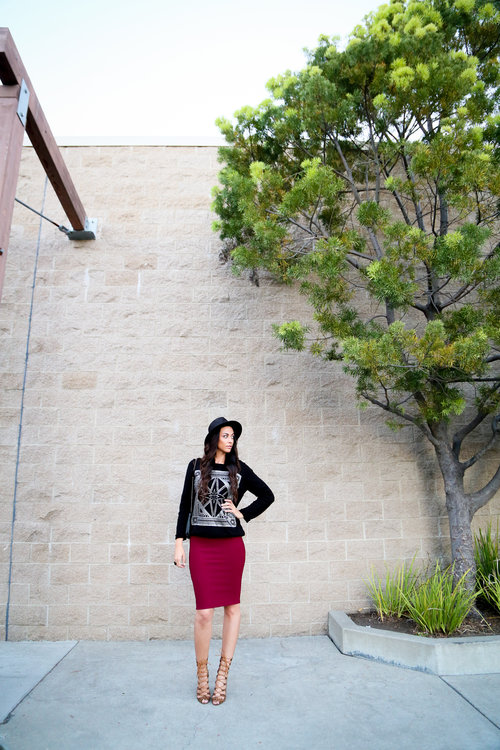 Rollie in Leopard - SMASH SHOES/Knit Midi Skirt in Berry - FOREVER 21/Metallic Print Sweater and Ring - H&M/Hat - KEY WEST HAT COMPANY/Handbag - THRIFTED/Polish - Penny Talk by Essie Photo Credit: YBowyer Photography