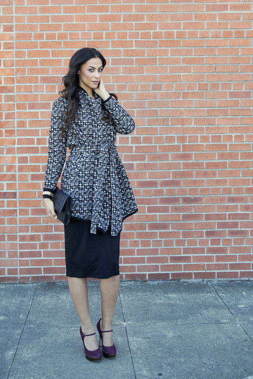 Checked Blanket Coat - Next/Tall Long Sleeve Tube Dress - Next/Shoes - Joan & David/Watch - Forever 21/Clutch - H&M
