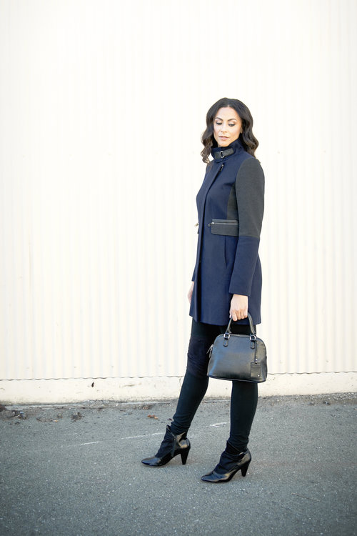 """Tall Clean Zip Coat - NEXT/Trendsetter Leggings (36"""" inseam) - LEL/Dome Satchel - The Limited/Booties (size 12) - Payless"""