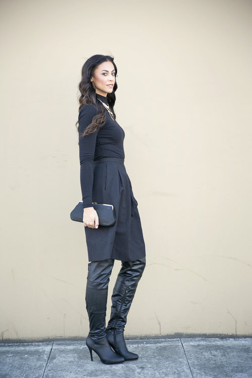 Long Sleeve Jersey Body - Taller Than Your Average for Long Tall Sally/Midi Skirt (Similar Here) - H&M/Statement Necklace - Forever 21/Boots - Report via Nordstrom/Clutch - Thrifted Photo Credit: Lindsay Carlisle