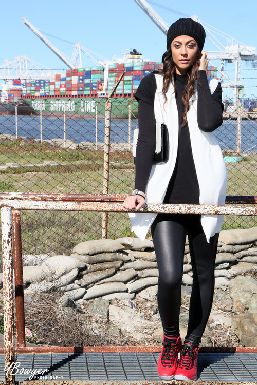 Long Sleeve Jersey Body - TTYA x Long Tall Sally / Combined Leather Look Legging - Long Tall Sally / Air Jordan 10 Retro in Gym Red - Jordan / Longline Collared Vest - Forever 21 /Tunic Tee and Watch - Forever 21/Oversized Clutch - Target/Beanie -  Nikki Notarte's  Closet  Photo Credit:  Ybowyer Photography