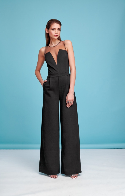 Sheer V-Neck Jumpsuit