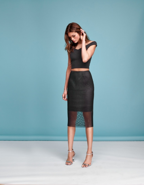 Crop Top and Eyelet Mesh Pencil Skirt