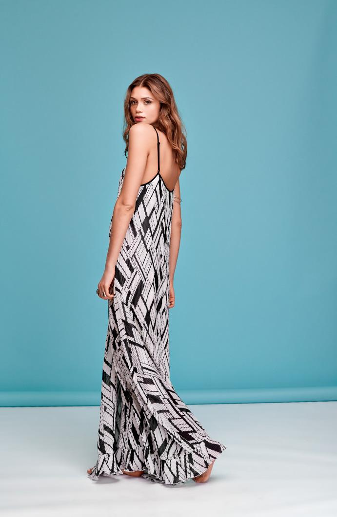 Printed Pleat Maxi Dress