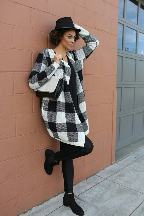 Alicia Jay Long Tall Sally Check Coatigan Style Fashion Fall Tall Girls Outfit of the day Look boots hat 1.jpg
