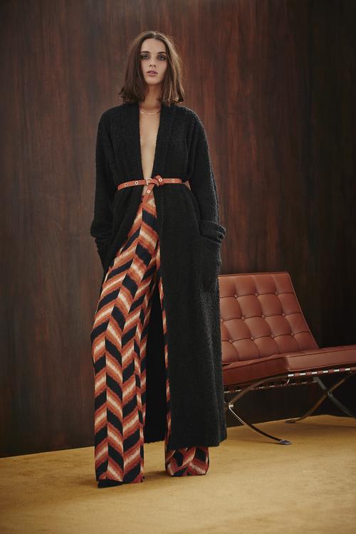 Abstract Chevron Palazzo Pants and Textured Maxi Cardigan