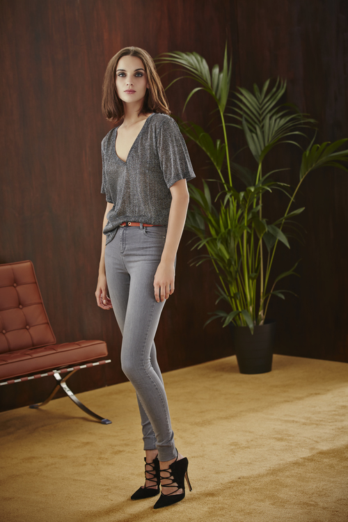 Metallic Shimmer Boxy Tee and Super Skinny Jean