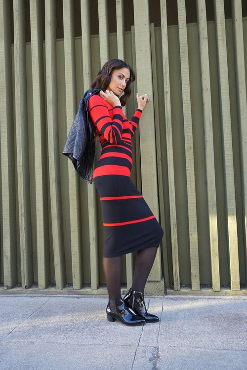 Striped Sweater Midi Dress (shown in M/L) - The Height/BFT Celena Patent Ankle Boots (come in sizes up to 15 and shown in size 12) - Long Tall Sally/Tights - GEORGE for Walmart/Faux Leather Quilted Vest - Forever 21 Photo credit: Nikki Notarte