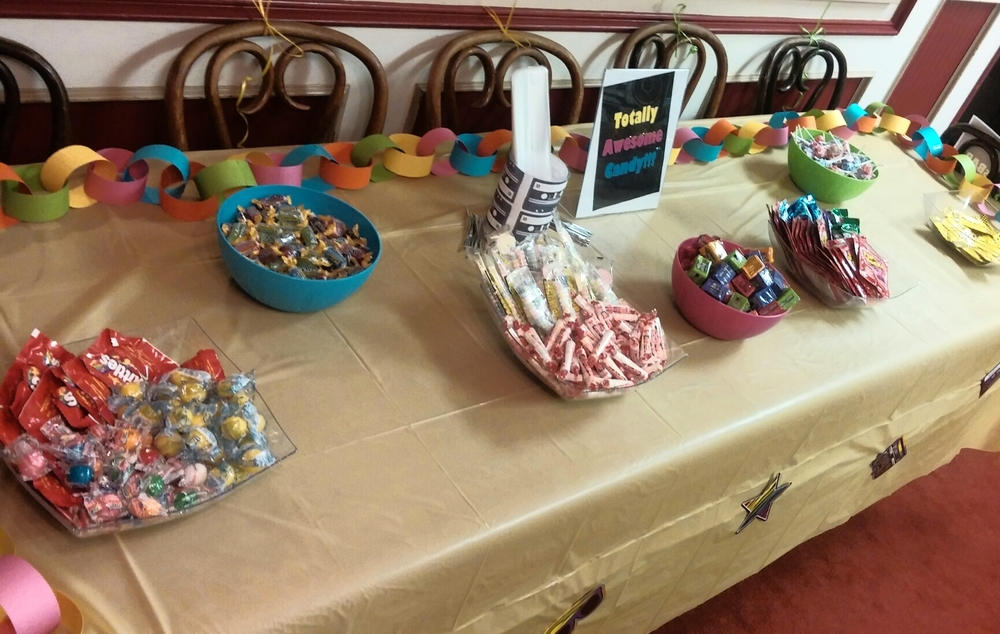 The 80's candy table was a hit!