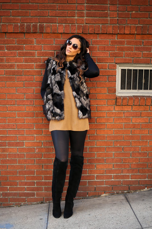 Tall Leather Look Leggings - Long Tall Sally ( similar here )/BFT Over-The-Knee Boots - Long Tall Sally ( similar here )/Tall Bodysuit - Taller Than Your Average for Long Tall Sally ( similar here )/Faux Fur Vest, Sleeveless Camel Sweater and Shades - Forever 21/Clutch - H&M  Photo Credit:  Meg Russell Photography