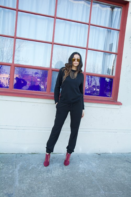 Michelle Mesh Booties - Smash Shoes  (Shown in size 12, also comes in black)/Tall Joggers -  Long Elegant Legs /Necklace and men's sweatshirt - Forever 21/Shades - Akira   Photo Credit: Marc Allen