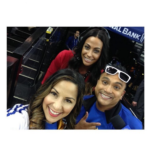 I work closely with Ruby and Franco on game nights. They are our amazing in-arena MC's but more importantly my friends for life. I always have to do a major TALL LEAN-IN when we take selfies.