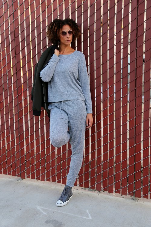 Tall Dark Green Bomber Jacket - New Look / Tall Grey Long Sleeve Sweater - New Look / Tall Grey Drawstring Joggers - New Look / Shoes - Converse (size 12/ Shades/Forever 21  Photo Credit : Lakeela Smith