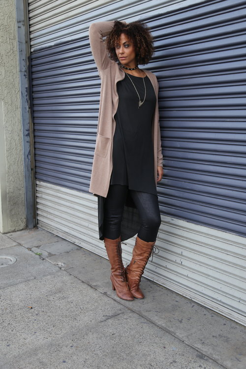 "Long Line Pocket Knit Beige - Tall Girls UK/Leather Look Leggings - Tall Girls UK (36"" inseam)/Boots (size 12) - Sam Edelman (sorry...2 seasons ago)/Tunic - Forever 21 Plus/Choker - Alloy Apparel/Necklace - Charlotte Russe Photo Credit: Lakeela Smith"