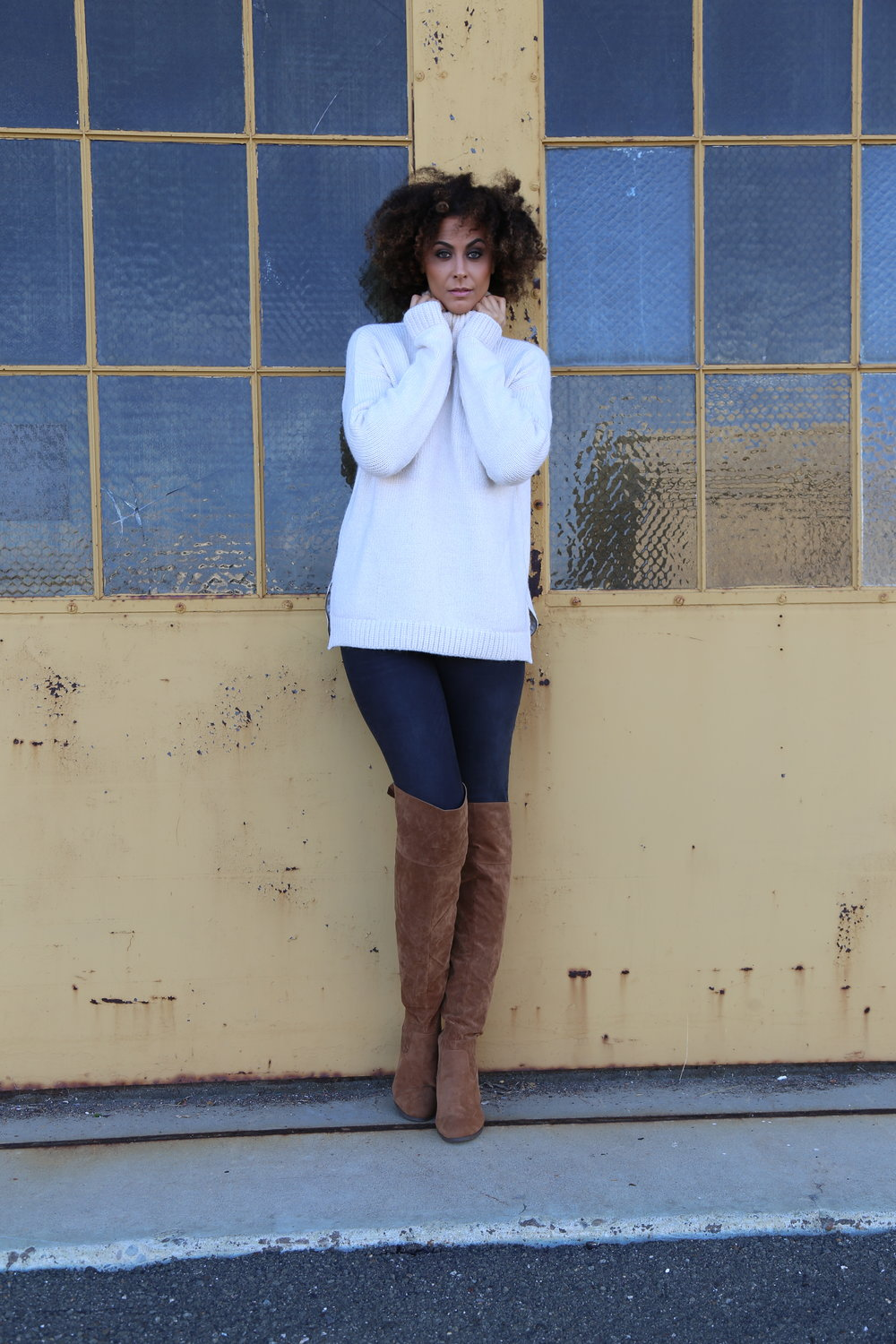 CURATD X LTS Heavy Turtle Neck Knit / CURATD X LTS 7/8 Raw Frayed Hem Jeans / LTS Lexie Over The Knee Boot  *All are from  Long Tall Sally   Photo Credit:  LaKeela Smith