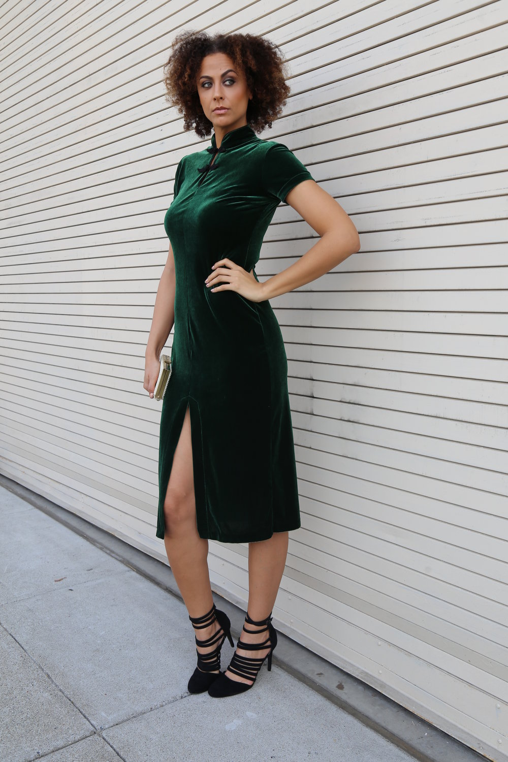 Velvet dress - Retro.Honey/LTS Emilia Strappy Heel (shown in size 12) - Long Tall Sally/Pearl Clutch - Thrifted Photo Credit: LaKeela Smith Photography