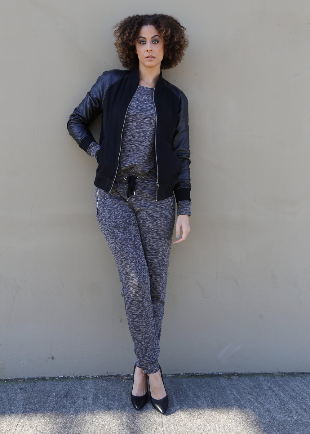 Spacedye Zip Detail Sweatshirt and Pants - Long Tall Sally/Bomber Jacket (Men's) - Forever 21/Shoes (shown in size 12) - Nordstrom Rack Photo Credit: LaKeela Smith