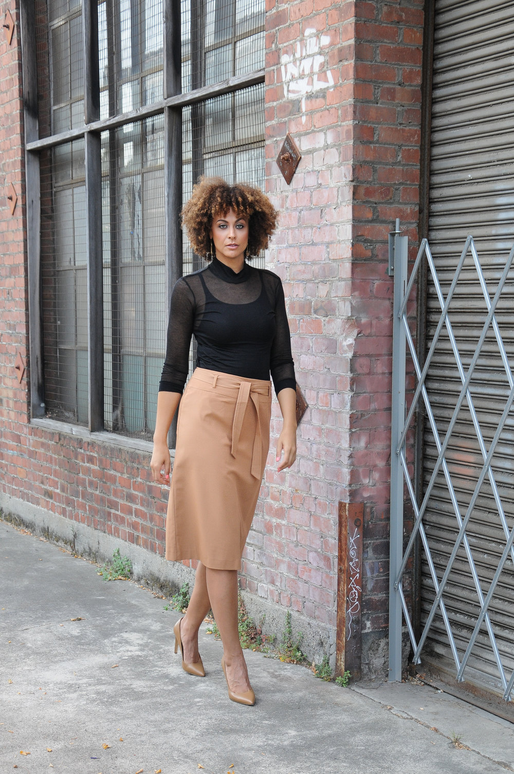 Tall Tie Waist Skirt - Long Tall Sally / Sheer Top - Long Tall Sally / Earrings - Candid Art /Pumps - Calvin Klein via Nordstrom Rack (size 12)  Photo Credit:  Ashdav Photography