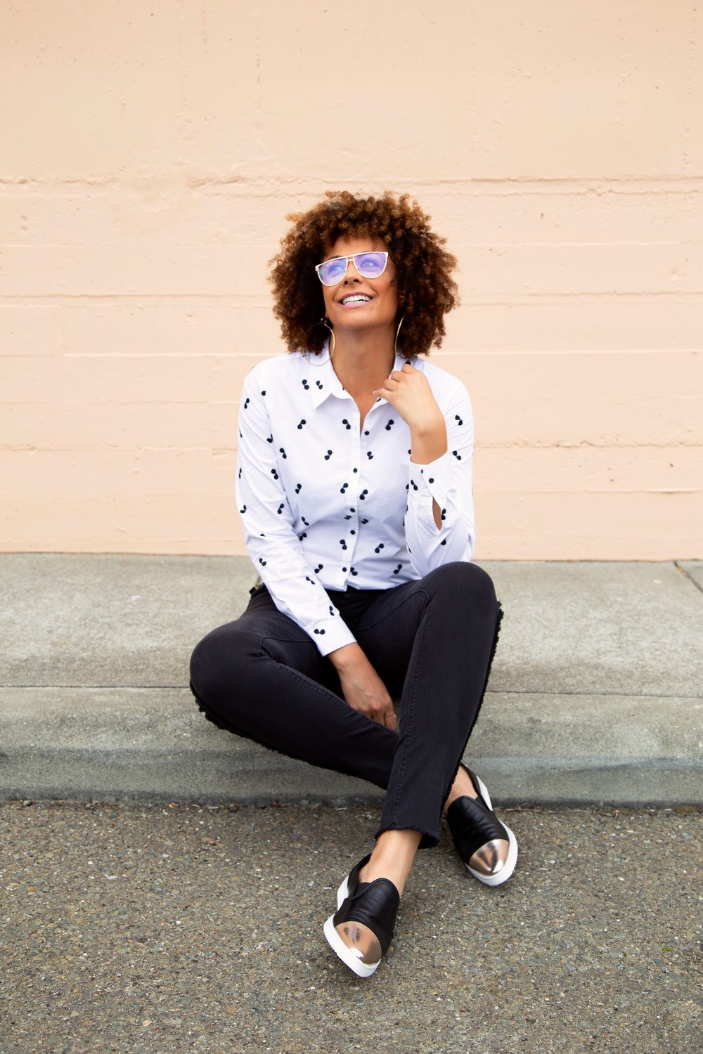 Shirt ,  Jeans  and  shoes  -  Karl Lagerfeld Paris for Long Tall Sally  | Glasses - @opaqueeyewear | Hair - Braidout using  Beija Flor Naturals   Maracula Milk  and  Creme Brulee  (a little of both...it goes a long ways)  Photo Credit -  Lakeela Smith