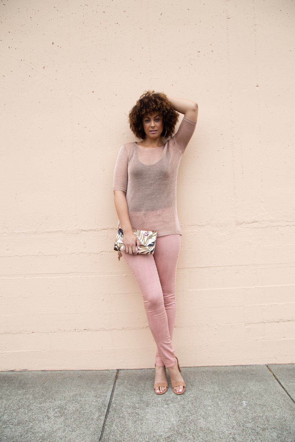 Siena High Waist in Blush - Alloy Apparel  |  Emily Rose Metallic Top - Alloy Apparel  |  Erma High Block Heel Pumps (shown in size 12) - Target    Photo by Lakeela Smith