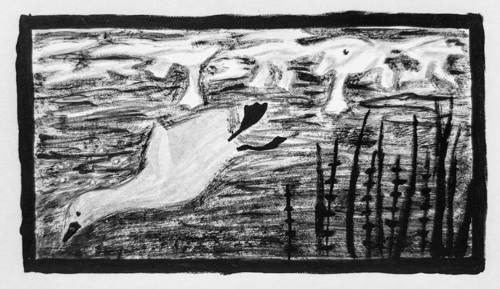 'he simply swam down and away beneath their scrambling feet'